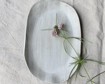Ceramic Serving Platter, Ceramic Serving Tray,  Handmade Dinnerware, Ceramic Tableware, White Organic