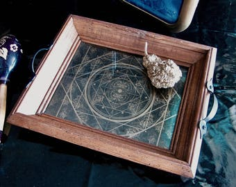 Art Serving Tray, Wood, Rose pattern, Sacred Geometry