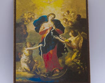 Mary, Undoer of Knots, Painting by Johann Georg Schmidtner, print canvas with handmade finishes, Size 24x20x1.1 cm.