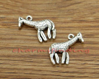 15pcs Giraffe Charms Animal Charms Antique Silver Tone 22x19mm cf3176