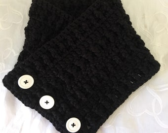 Crocheted Wrap-Winter Scarf-Women's Shawls-Black Scarf-