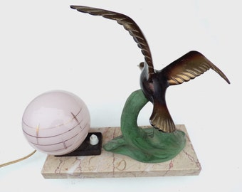 vintage French Table night lamp Gull marble stand with a pink globe light lamp art deco