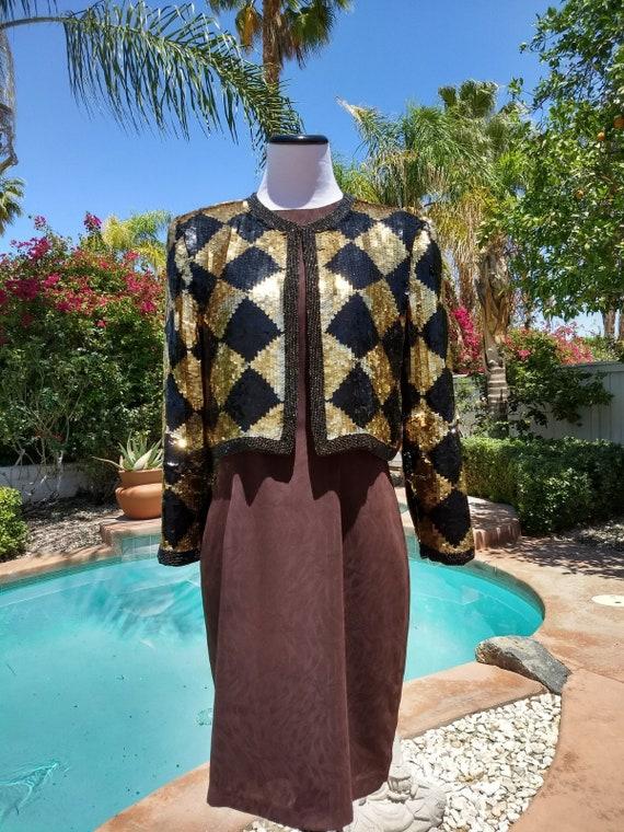 Dazzling I. Magnin 80's Vintage Silk Sequined Jacket,Size Medium.