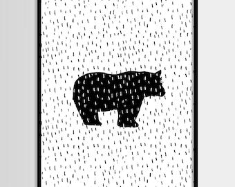 Bear print, Scandinavian print, Wall decor, Kids room, Nursery, Printable Wall Art, Kids print, Digital print, Instant Download 8x10