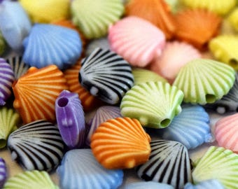 Gorgeous Kawaii Shell Shaped Colourful Acrylic Beads - 8mm - Choose your Pack Size from 50 or 100