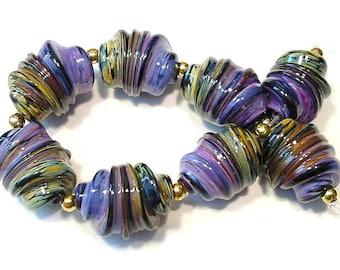 Handmade Glass Lampwork Beads, Raku and Purple Rose Whirled Focals