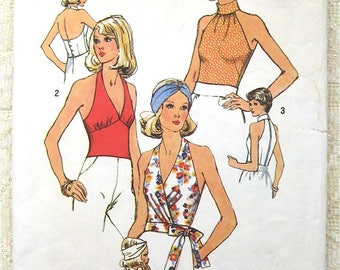 """Vintage 70s Wrap Halter Top. Simplicity 6358 Sewing Pattern. Size 8 Bust 31 1/2"""""""