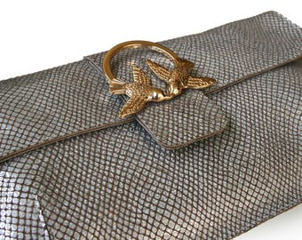 Silver leather handbag, birds purse, silver evening bag, Women's elegant purse, bohemian style purse