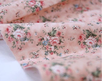 Cotton Fabric Floral Antique Bouquet - Pink - By the Yard 39115