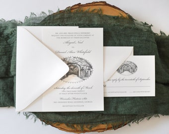 Wormsloe Gate Wedding Invitation - Savannah Wedding - Savannah Bride - Simply Southern - Wedding Invitation Suite - Georgia Wedding - Set