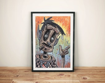 Robot Scifi Science Fiction - Sleazy Salesbot the Robot Salesman Acrylic Painting - Robot Wall Decor
