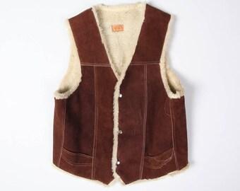 70s Vintage Dark Brown Suede Leather Shearling Rancher Vest Size M
