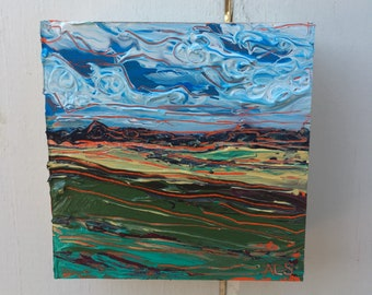 4x4 inch Original Acrylic Alberta Prairie Landscape Painting on birch - 'this was for you'