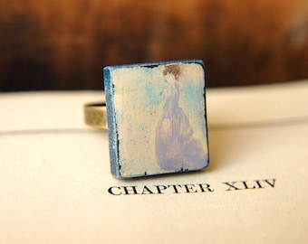 Hand Painted Ring Victorian Woman  Adjustable  - Lady in Lavender