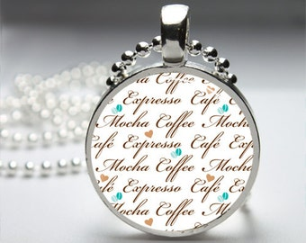 Coffee Print Word Art Round Pendant Necklace with Silver Ball or Snake Chain Necklace or Key Ring