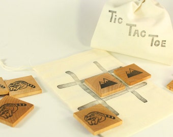 Wooden toy -Tic Tac toe Game - Wooden toy - Travel game - Classic game - Party favor