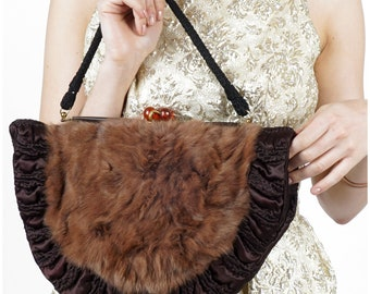 Vintage 1940s Crescent Shaped Convertible Handbag and Muff with Soft Brown Fur and Quilted Silk