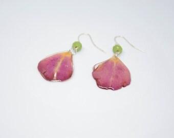 Earrings, Pink Earrings, Transparent Earrings with Rose Petals, Light Earrings, Drop Earrings, Resin Earrings, Gift for Her.