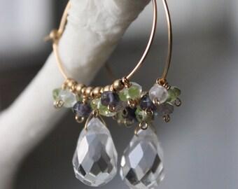 Crystal Drop and Multi-gem Cluster Hoop Earrings - Handmade