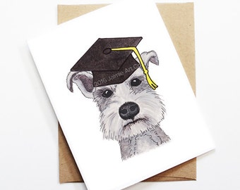 Graduation Card - Schnauzer, Grad Card, College Graduation, High School Grad, Congrats Grad, Congrats Card, Cute Dog Card