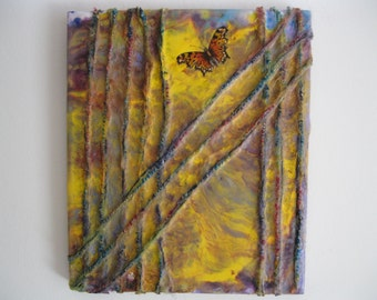 Original Mixed-Media Encaustic Painting - Caged