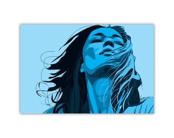 Blue Art, Woman Illustration, Canvas Print, Modern Wall Decor, Large Poster, Freedom