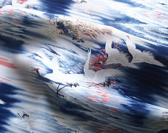 Beautiful Japanese fabric fluid crane silk artificial 113 * 50 cm