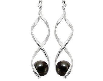 Silver plated swirl earrings - hematite