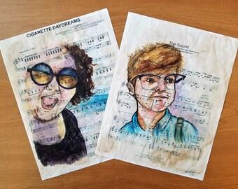 Custom Portrait from Photo on Sheet Music (Song of Choice) - Custom Portrait Drawing - Sheet Music Art- Custom Portrait Illustration