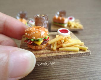 Miniature Food - Burger/Sandwich Set, 1:12 scale Dollhouse Roombox Sylvanian Families Doll Food, Fridge Magnet, Whiteboard Magnet, DIY Craft