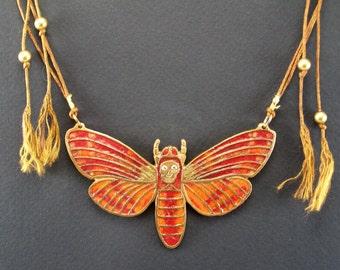 Death's Head Hawk Moth Bib Necklace, Acherontia Atropos Pendant, Glass enamel insect, Statement jewelry, Handmade bug made of bronze clay