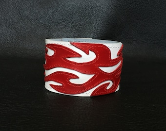 Leather cuff, mens leather cuff bracelet, leather cuff bracelet with red flames design, mens bracelet, mens braclet, leather braclets.