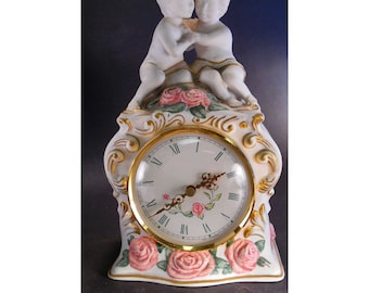 "Vintage Franklin Mint ""The First Embrace"" Porcelain Clock"