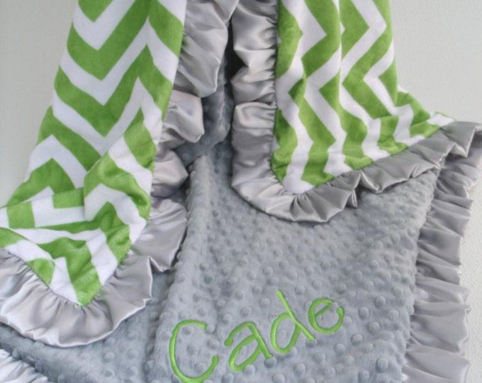 Green Chevron and Gray Minky Dot blanket
