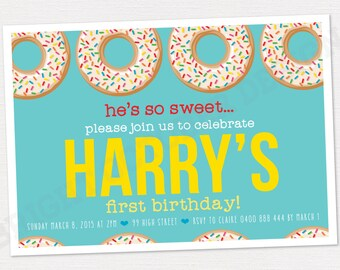 Custom first birthday donut invitation | DIGITAL DOWNLOAD