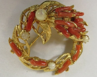Vintage Red Coral and Mother of Pearl Brooch, A Beach Poem!