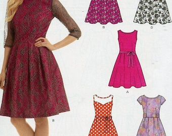 FREE US SHIP New Look 6143 Dress Sleeve Variations Size 10-22 Sewing Pattern Factory Folded Unused Bust 30 32 34 36 38 40 42 44
