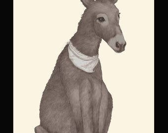 Lux donkey  - Archive quality giclee print from pencil drawing - Limited edition of 25, signed by artist