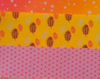 Papier origami - fantaisie  fluo - 10 x 10 cm - 5 feuilles (1)
