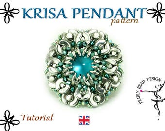 KRISA PENDANT pattern with Arcos and Minos par Puca beads, DIY tutorial