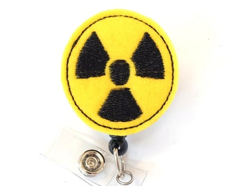 Radiation Symbol - Radiologist Badge - Rad Tech Gift - Radiology Retractable Badge Clip - Felt Badge Reel - Radiology Tech - BadgeBlooms