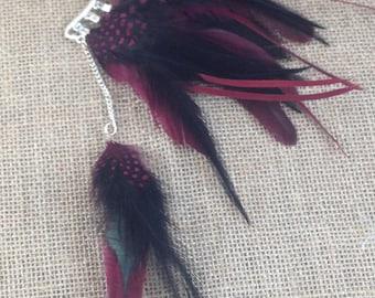 Feather ear cuff - non pierced ear cuff - ear feathers - cuff wrap earrings - earrings that hook around ear - up the ear earrings