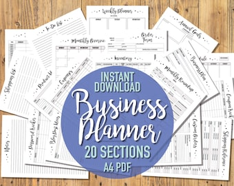 Printable A4 Business Planner - 20 SECTIONS - Business Organisation Printables - Black & White - Small Business Trackers - Etsy Business