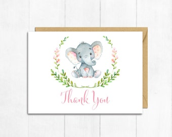 Pink Elephant Thank You Card, Baby Girl Thank You Card, Elephant Baby Shower Thanks, Flat Postcard Style Thanks, Girl Instant Download 305-P