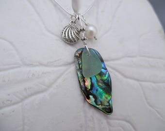 Sea Foam Sea Glass Necklace Abalone Sea Shell Jewelry Beach Sterling