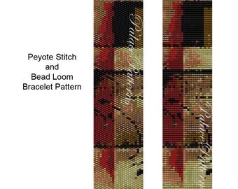 Bracelet Pattern for Bead Loom or Peyote Stitch - Freeform 10 Beadweaving Bracelet Pattern