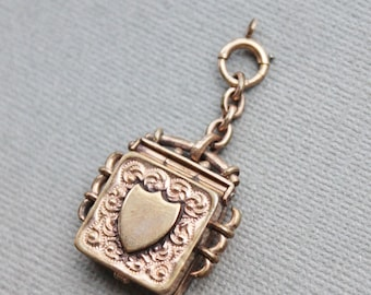Antique Edwardian Royal Shield Box Locket Fob / Guard my Heart