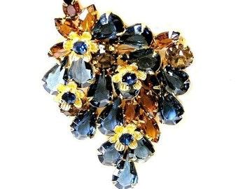 Beautiful Montana Blue and Amber Flower Brooch
