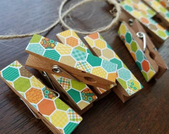 Colorful Hexagon Honeycomb Chunky Clothespins w Twine for Clothesline Display, Little Wooden Clips Set of 12, Photo Studio, Teal & Yellow