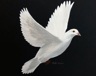 White dove, hand painted on black canvas, made to order